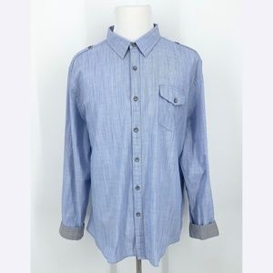 DKNY JEANS Blue Button Up Roll Tab Sleeve Shirt